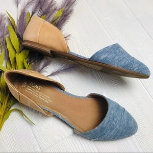 Toms Leather & Chambray Flats